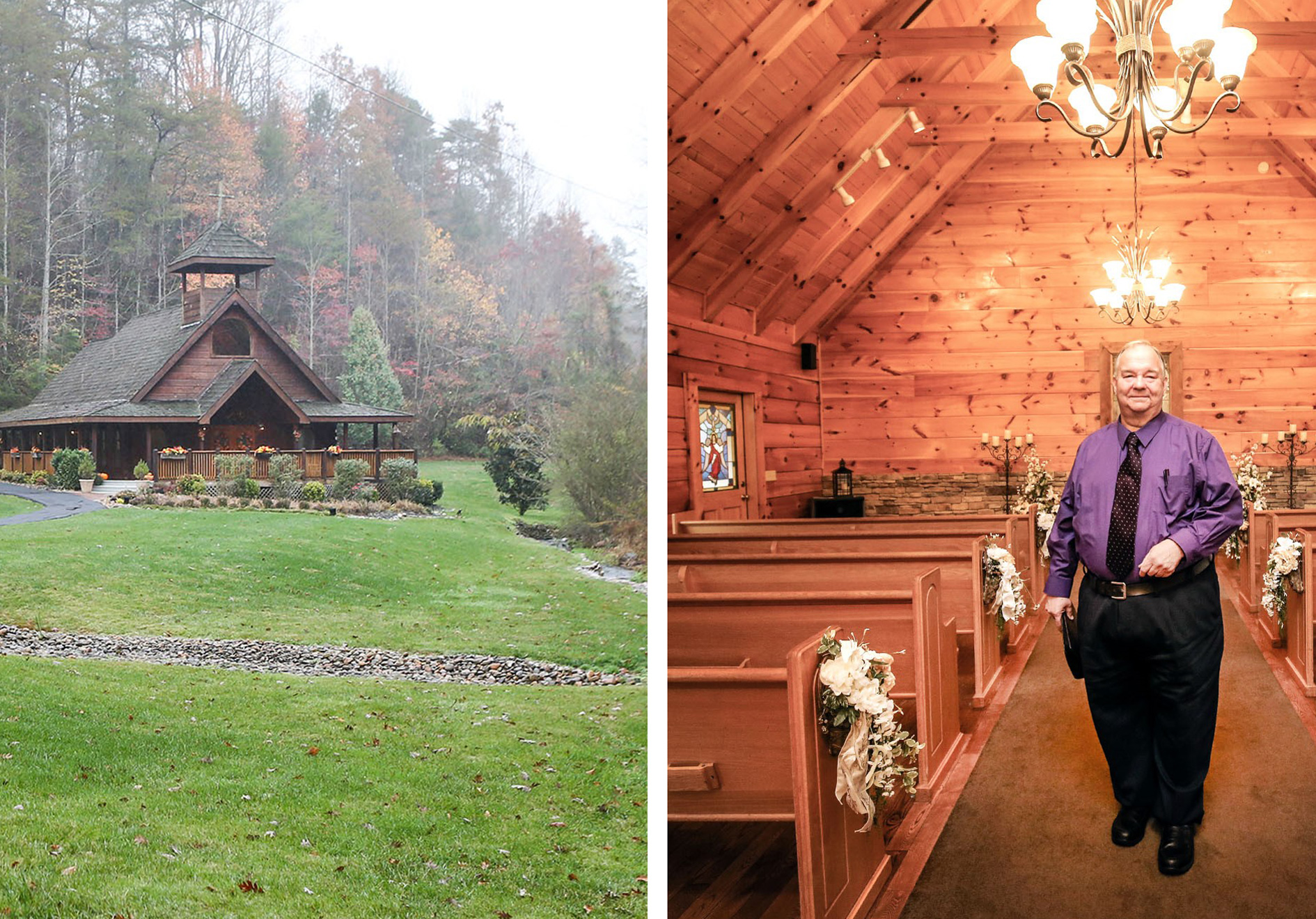 The Romantic Little Log Wedding Chapel Where Rev David Faulkner Serves As Official And Planner